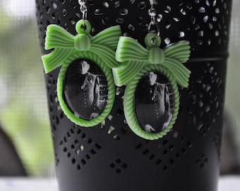 Nosferatu Earrings-Resin Bow Setting-Scary, Horror Earrings