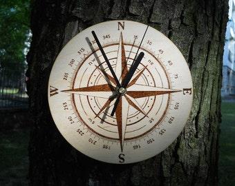 Compass wall clock pyrography