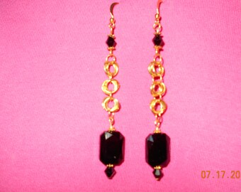 Handnade gold and black earrings