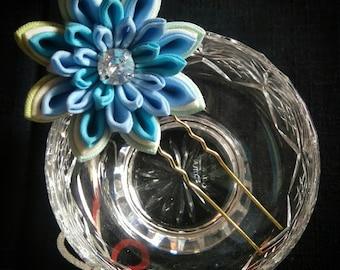 Blue, Cyan, and Green, Tsumami Kanzashi Water Lily Hairpin