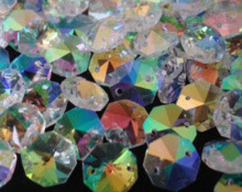 48 AB Iridescent 14mm Crystal Octagon Connector Beads