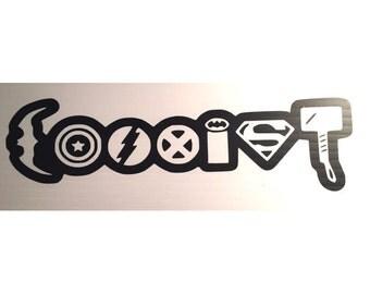 Super Hero Coexist Vinyl Decal Sticker.