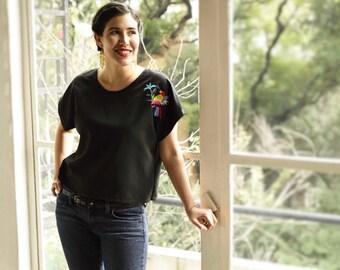 Mexican artisan hand embroider Otomi design blouse