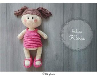 Klára,  crochet dolly , crochet amigurumi, amigurumi dolly ,