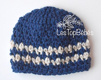 Crochet Newborn Boy Hat, Newborn Baby Boy Hat, Blue Baby Hat, Navy Newborn Hat, Navy Newborn Beanie, Navy and Beige Hat, Baby Shower