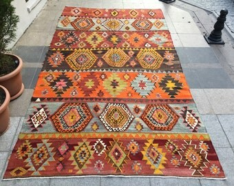 5'9x10'7 ft  kilim rug, condition kilim, ANATOLIAN TURKISH RUG, Handwoven Kilim, Colorful,Rug, Area Rug, 328x181 cm,floor rug,K-231