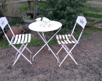 garden bistro cafe patio table chairs set shabby chic vintage country cottage chic table