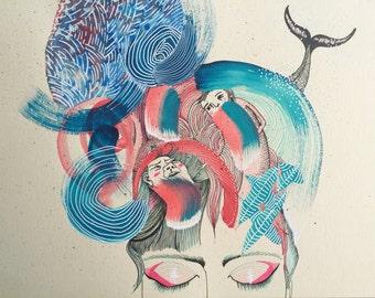 Original drawing - mixed media OOAK