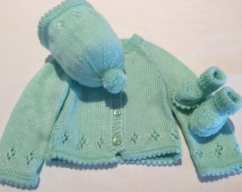Hand Knitted Green Baby Set