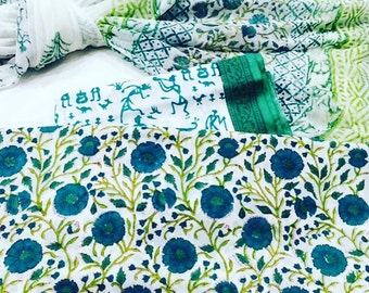 Beautiful hand block printed cotton voil fabric suit set inclusive of top bottom and stole