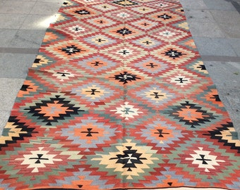 Pastel blue colorful kilim rug, vintage kilim 10 x 5 ft