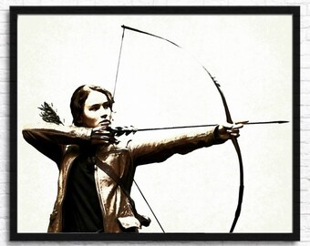 Hunger Games Wall Art, Katniss Art Print, Mockingjay Artwork, Digital Art, Movie Wall Art