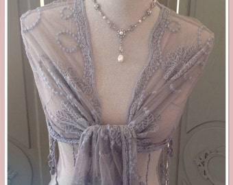 Vintage Lace Style Grey Wrap/Shawl - Downton Abbey Look