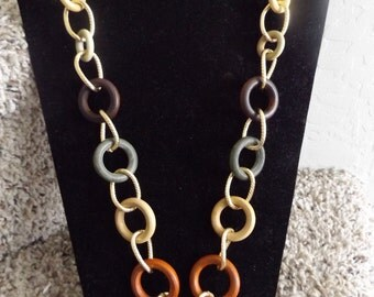 Chain Necklace Golden Chain Necklace Wood Neckalce Rings Necklace