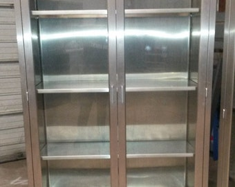 Vintage Medical Stainless Steel Cabinet, Used in Hospital O/R,  Glass Doors, 3-Stainless Adjustable Shelves, Display Cabinet, *Local pick up