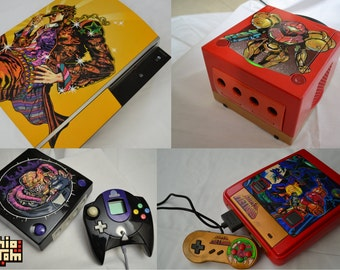 Unique custom painted Console + Controller - Handmade - Made to Order