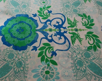 Green and Blue Medallion Fabric, Ty Pennington Fabric, Revelation Fabric, Green Pattern Fabric, Blue Pattern Fabric