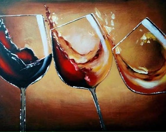 Three wine glasses, Oil Painting (No Framed)