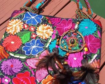 Embroidered handmade/ shoulder bag/ boho/funky/style