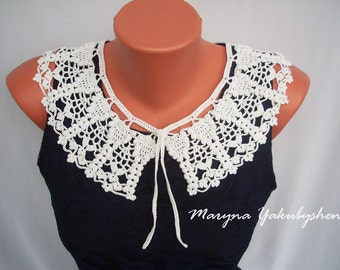 Vintage accessory Crochet necklace Handmade white vintage crochet collar White crochet necklace Women accessory