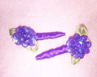 Purple Passion Hair Clips (pair), Handmade, Alligator Hair Clips