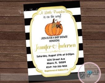 Pumpkin Baby Shower Invitation. Pumpkin Baby Shower Invitation, Black Gold Baby Shower Invitation, Fall Baby Shower Invitation, Digital File