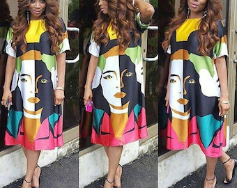 Trendy Faceprint yellow multicolored silk dress