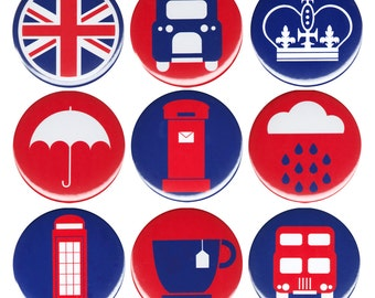 Things Of London United Kingdom Button Badge Pinback Pin 9x Pack