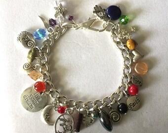 Gemstone Silver Charm Bracelet