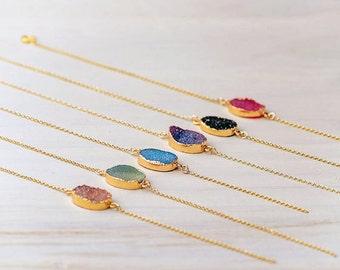 ON SALE Gemstone Bracelet Druzy Bracelet Gold Dipped Bracelet Dainty Bracelet Sterling Silver Gold Plated Agate Druzy