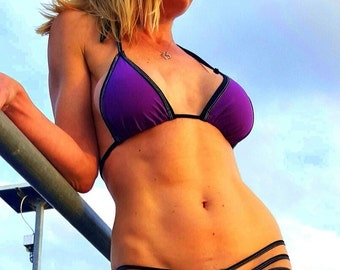 3 Side Strap Scrunchy Bottom Bikini Set