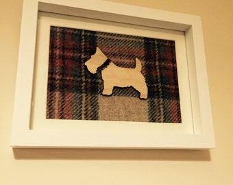 Unique handcrafted tartan frame with wooden Scottie dog
