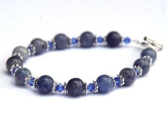 Blue Aventurine bracelet - Crystal bracelet - gemstone bracelet - Swarovski crystals - silver wire bracelet - gifts for her