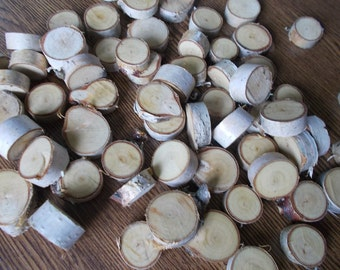 100 Small Birch Wood Slices ~ 0.5 to 2.0 inch, Rustic Tree Branch Slices for Craft, Natural Wood Slices,