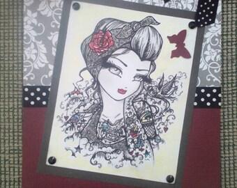 Tattoo girl greeting card handmade