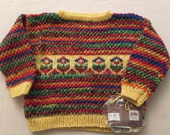 Sweater for girls, Gr. 98EU, colorful, acrylic, very soft
