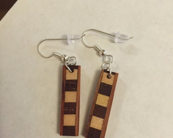 Hardwood earrings sterling silver ear wire.