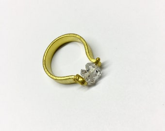 Double Crystal Ring, Double Stone Ring Gold Plated By Piece