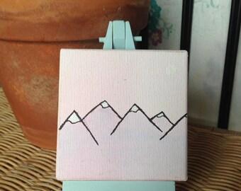 Mountains Mini Canvas and Easel Set