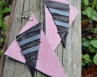 Pink and Black Leather Triangles