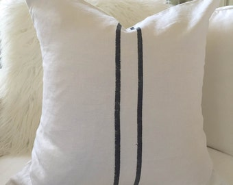 Pillow Cover, White Linen, Hand Painted Stripes, 20X20