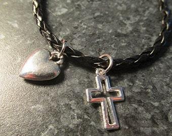 Braided leather charm bracelet heart crucifix cross boho religious Christian handmade.