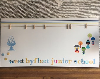 "Personalised decorative peg board - with tailored icon to your design / logo - 20"" x 40"" - school"