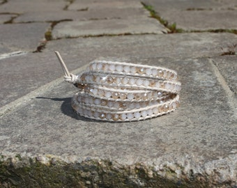 BACK IN STOCK!!! Timeless Tan Crystal Wrap Bracelet