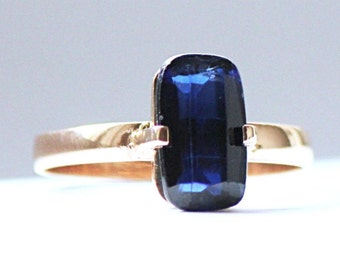 Solitaire Engagement Ring 19.2K Gold With Sapphire From Portugal Estate