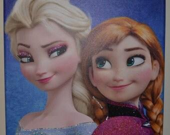 anna & elsa frozen personalised canvas name glitter swarovski crystals birthday gift girl daughter granddaughter niece disney princess wall