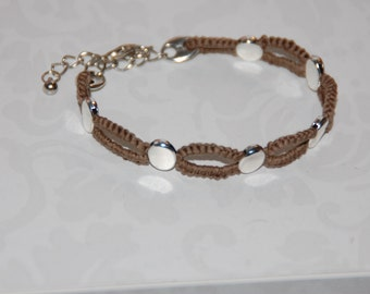 Naveta, entrepiezas silver - Gypsy, Brown, handmade tatted lace bracelet can choose more colors