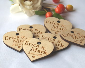 Wedding favor, Wedding tags, Wedding favor tags, Wood tags. Wedding favor rustic, Wooden hearts, Custom favor-Custom tags-Wooden tags