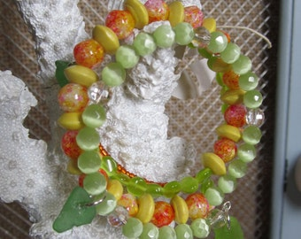 Spiral Lime Green, Yellow & Orange with RARE Pink and Green Sea Glass