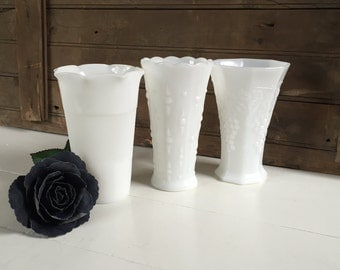 3 Vintage Milk Glass Vases - Instant Collection, Wedding Decor, Centerpiece, White, Cottage Chic, Rustic Decor, Farmhouse Style